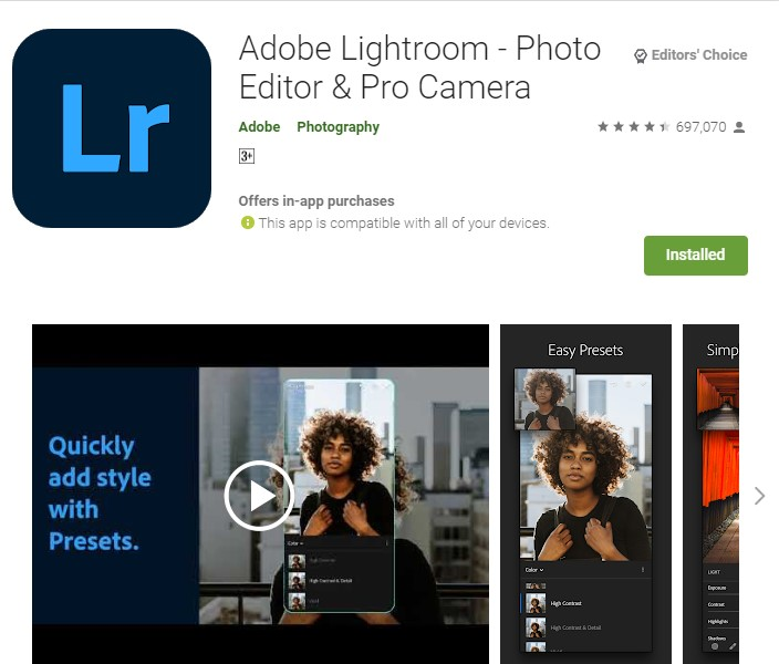 تطبيق تعديل صور مجاني light room
